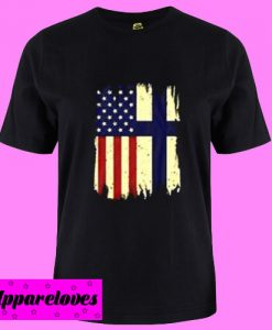 American And Finland Flag T Shirt