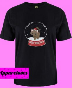 Black Cat Merry Christmas Snowball T Shirt