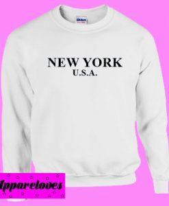 New York USA White Sweatshirt