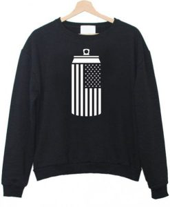 American Flag Beer Can Drinking Sweatshirt DAP