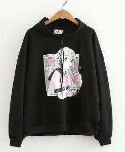 Anime prints black Hoodie AY