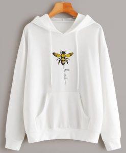 Bee Print Kangaroo Pocket Hoodie DAP