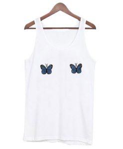 Blue Ribbed Butterfly Tanktop ZNF08