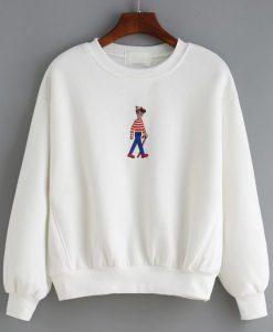Cartoon Embroidered Loose White Sweatshirt DAP