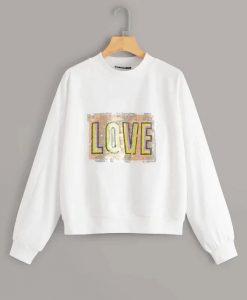 Contrast Sequin Letter Sweatshirt AY