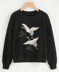 Crane Bird Embroidered Pullover ay