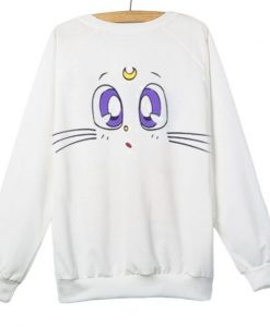 Cute Cat Cartoon Moon White Sweatshirt AY
