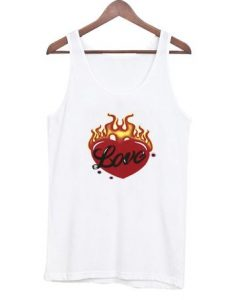 Heart in flames tank top AY