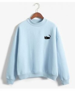 Black Cat Design Women's Long Sleeved Mock Turtle Neck Sweatshirt ZNF08