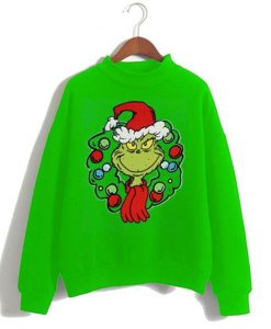 Dr. Seuss Big Boys Grinch Wreath Ugly Sweatshirt ZNF08