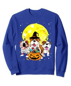 Funny Three Bulldog Mummy Witch Dog Moon Ghosts Halloween Sweatshirt ZNF08