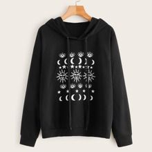 Graphic Print Drawstring Hooded Sweatshirt ZNF08