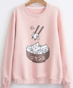 Cat In Bowl Sweatshirt ZNF08Cat In Bowl Sweatshirt ZNF08