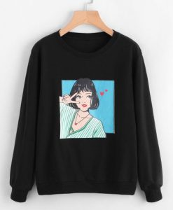 Girl Print Sweatshirt ZNF08