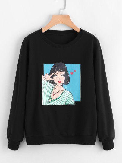 Girl Print Sweatshirt ZNF08