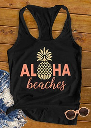 Aloha Beaches Pineapple Racerback Tank ZNF08