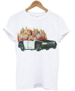 Burning Police Car T-shirt ZNF08