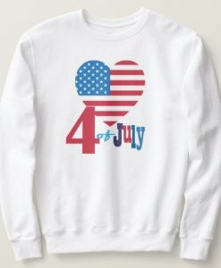 4th of July American USA Flag Heart Flag Fireworks Sweatshirt ZNF08