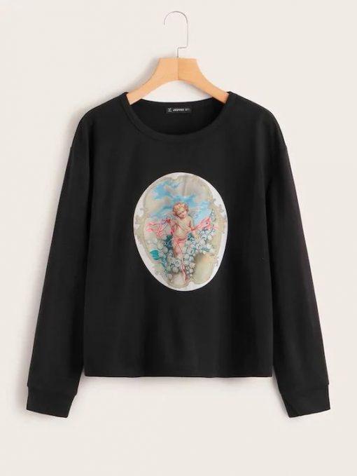 Angel Print Sweatshirt ZNF08