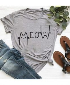 Creative Street Letter MEOW Cat TSHIRT ZNF08