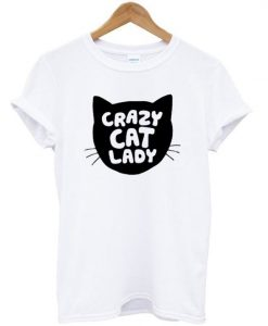 Grazy Cat Lady Silhouette Head T shirt ZNF08