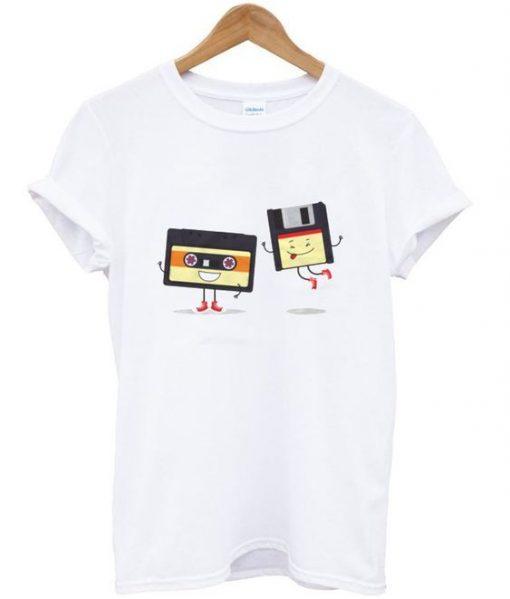 floppy and cassette tape t-shirt ZNF08