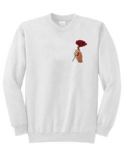A-rose-flower-in-hand-Sweatshirt THD