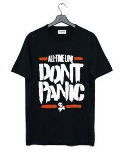 ALL TIME LOW Black DON'T PANIC Skull T Shirt KM