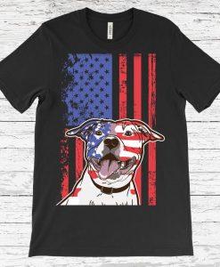 American Flag Pit Bull Dog T-Shirt