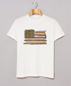 American Flag Weed Joint T Shirt KM