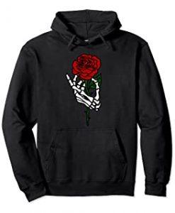 Skeleton Hand Holding Rose Hoodie THD