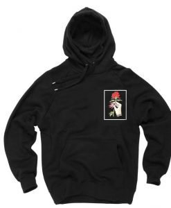rose and hand black color Hoodies THD