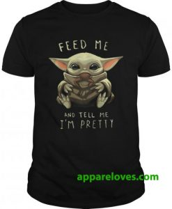 Baby Yoda eat frog feed me and tell me im pretty shirt thd