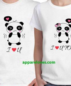I Love You & Love You Too Panda Couple T-Shirts thd