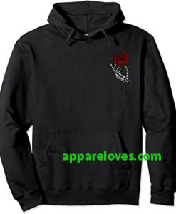Skeleton Hand Holding Rose Hoodie (FRONT)THD