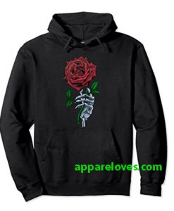 Skeleton Hand Red Rose Flower Hoodie THD