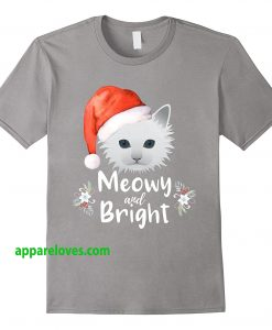 Meowy and Bright Merry Christmas Cat White Kitty T Shirt THD