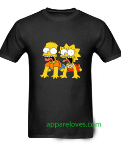 bart and lisa simpson scream t shirt thd