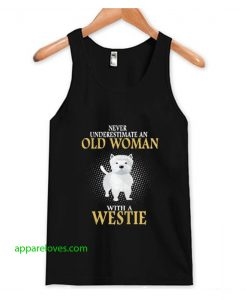 never underestimate an old woman tanktop thd
