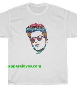 Bruno Mars Face Typography Lyric Famous T-Shirt thd